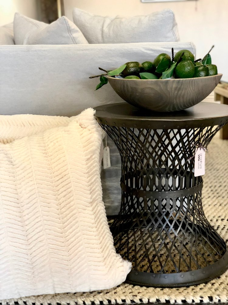 Cozy Pillows by The Sable Fox | $98  ;  Black Iron Table | $452