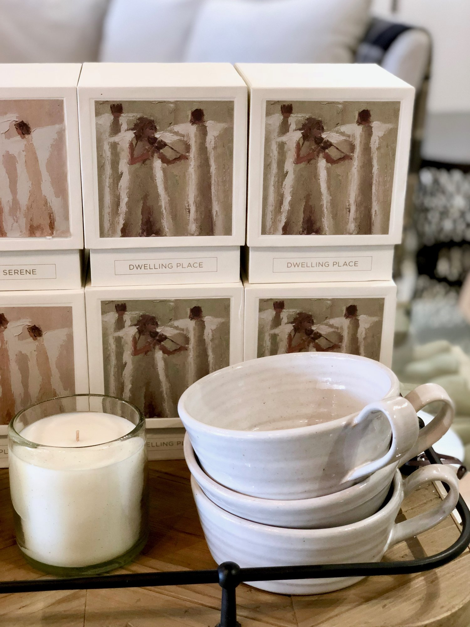Dwelling Place Candle | $54  ;  Soup Mug by Farmhouse Pottery | $48
