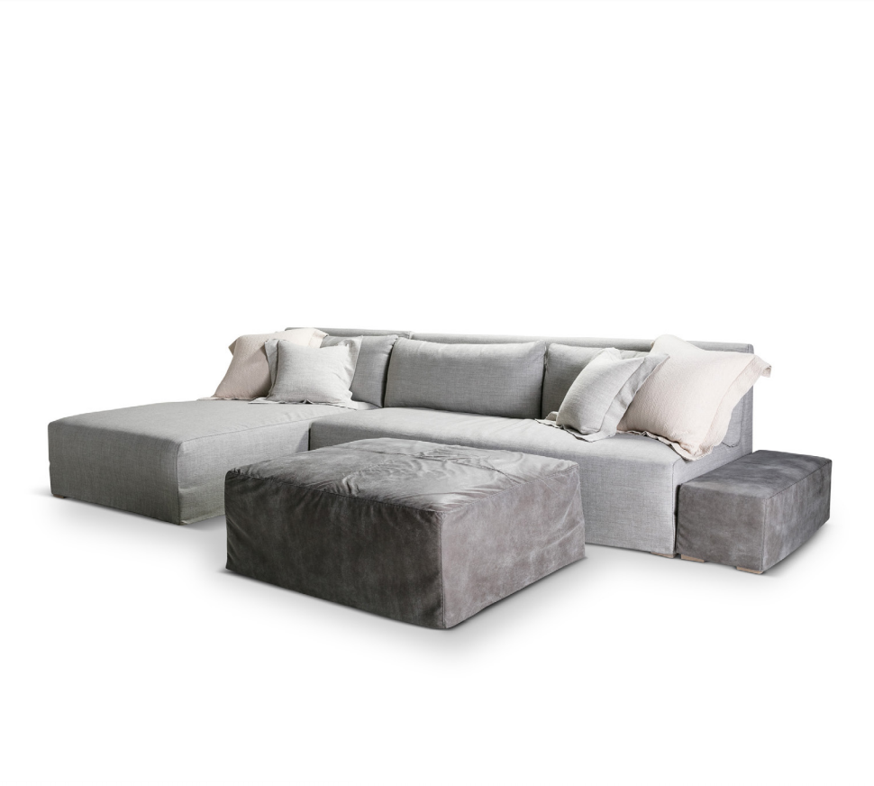 The Crosby Sectional by Verellen | As shown in fabric/leather combo: Starts at $11,871.00.  More options available.