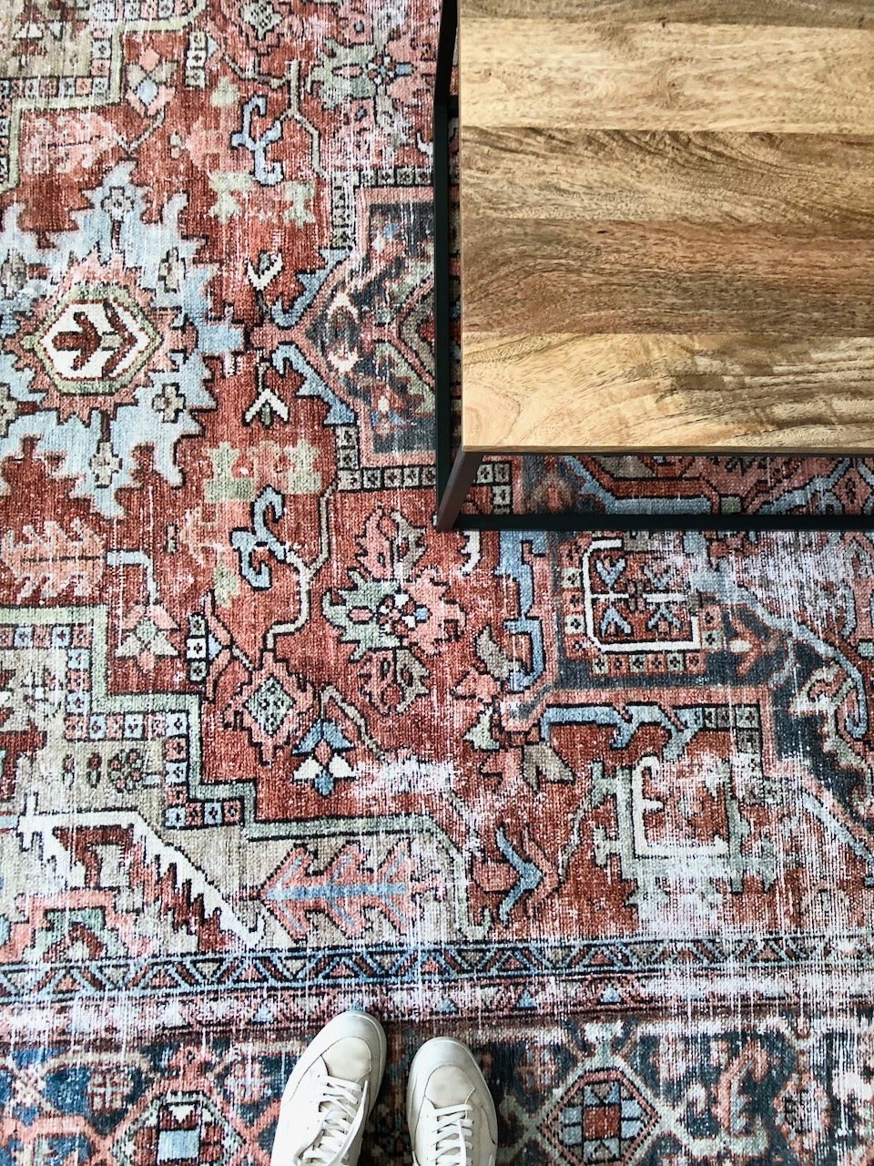 "From the moment I saw this rug at market in January -- I knew it would be perfect for my client's Dundee Tudor home.  So much beautiful, distressed color...and at a great value! This gorgeous 8'6"" x 11'6"" rug is less than $1000!"