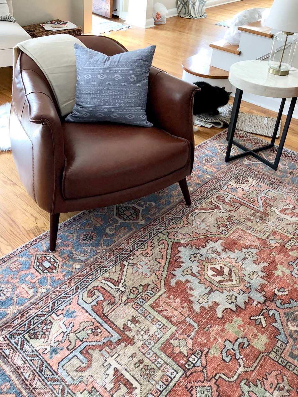 Looks so great with our Bohemian leather chairs.  Pillow by The Sable Fox | Made in Omaha