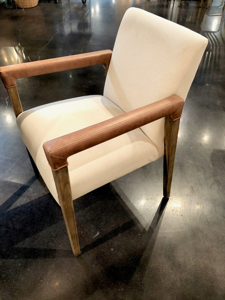 Linen dining chair with leather arms -- yes!  So comfortable and unique.