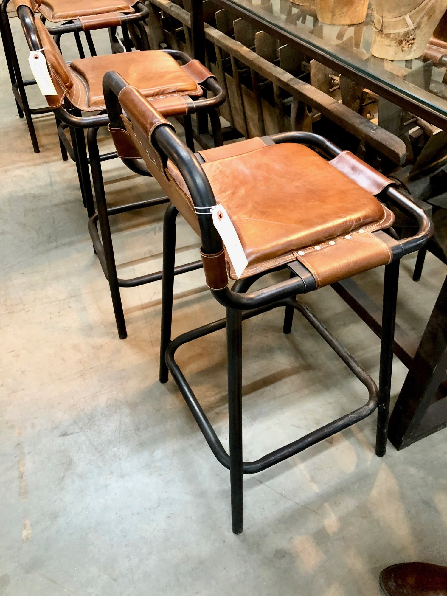 Vintage leather stools.