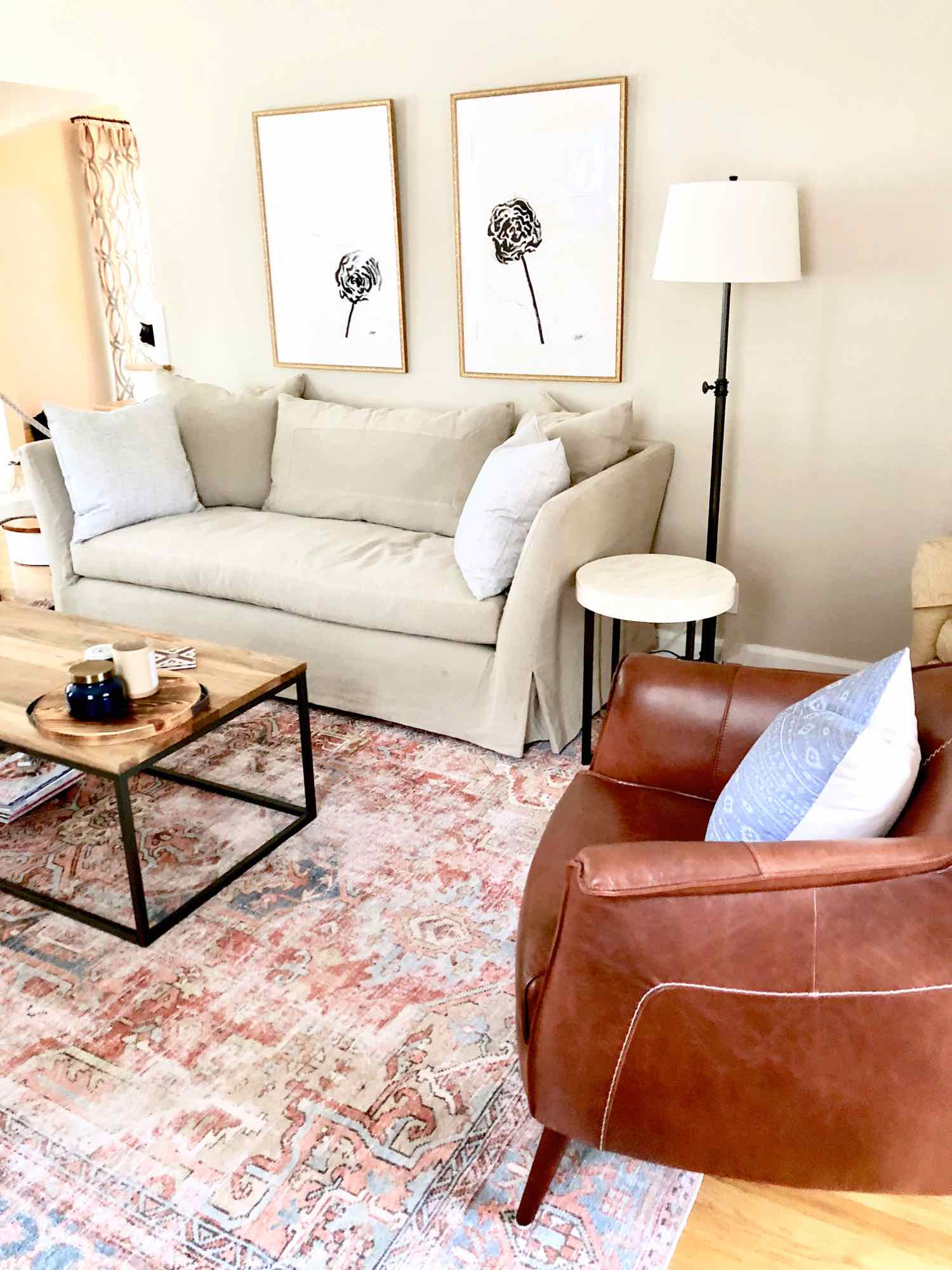 The Seda Sofa by Cisco Brothers in all it's creamy, natural linen glory!  Fabric is Mariet Natural.  This is the 7' length.  We opted to go the slipcover route -- but it can also be ordered upholstered.
