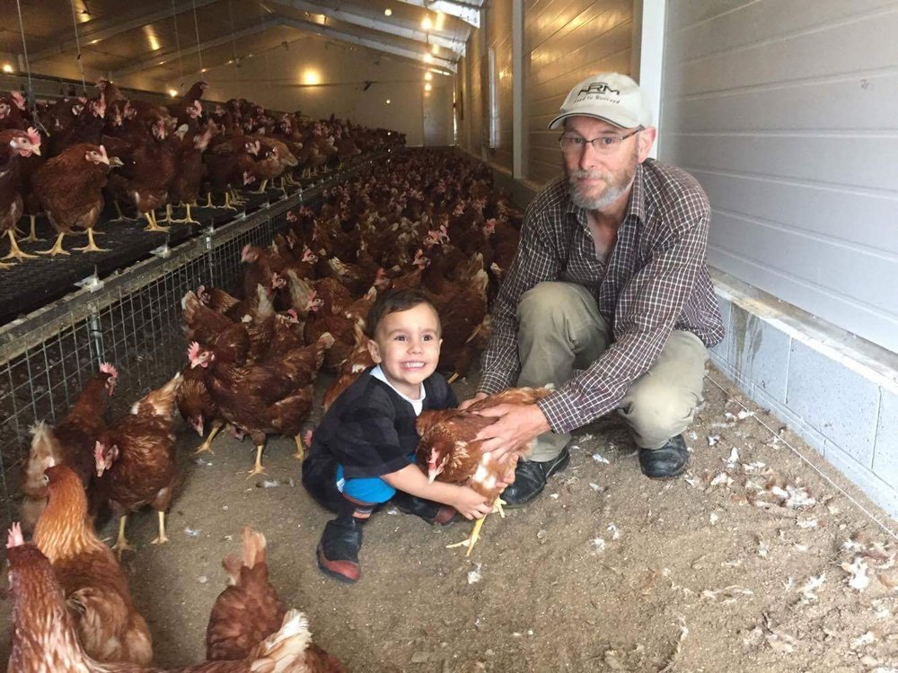 Barney's Barn egg farmer with grandson tending to the 'daily chores'....