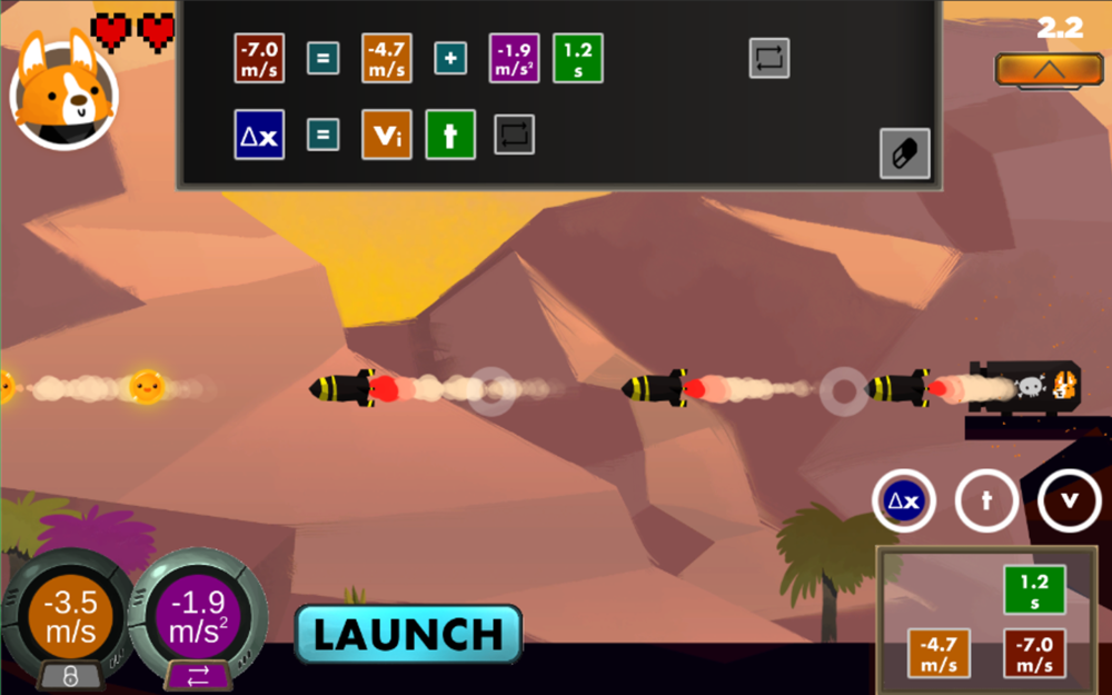 Solve for the acceleration of obstacles in this educational video game.