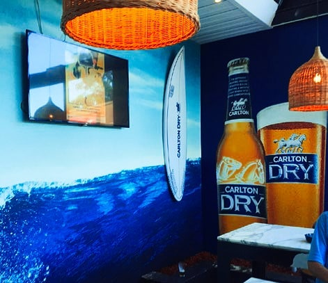 BEYOND BLUE // ZEST produced and installed 'Carlton Dry' branding throughout the Crest Hotel in Sylvania NSW. #zestimage