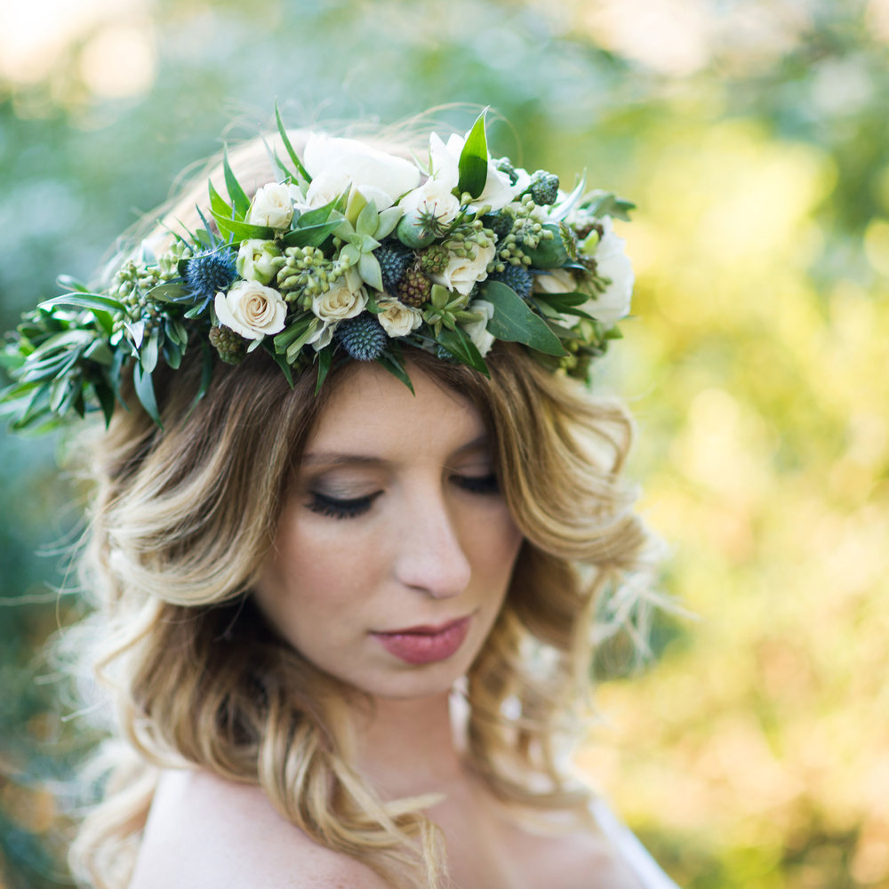 Blue Rustic Maternity Floral Crown Shoot  Traci J Brooks Photography