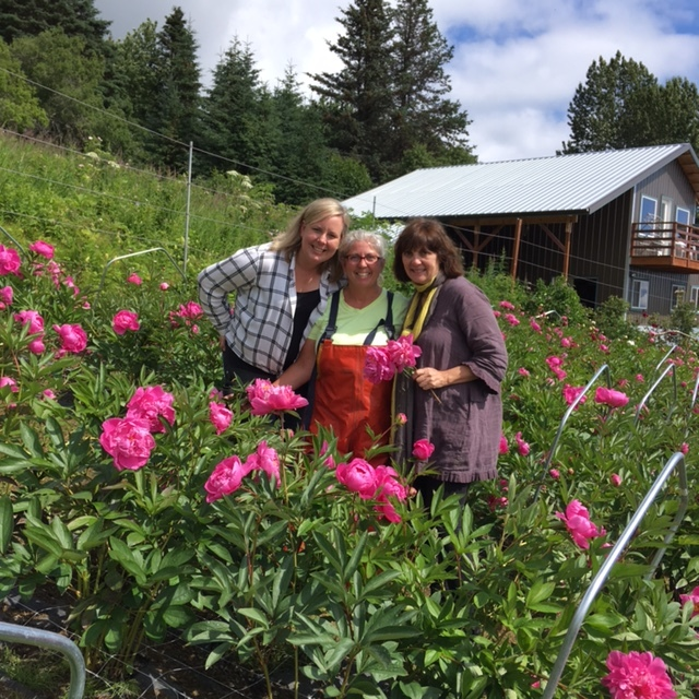 With Beth Van Sandt in her peony fields alongside Lisa Thorne of Thorne & Thistle who was there that week helping Beth & Kurt and also part of the design team.