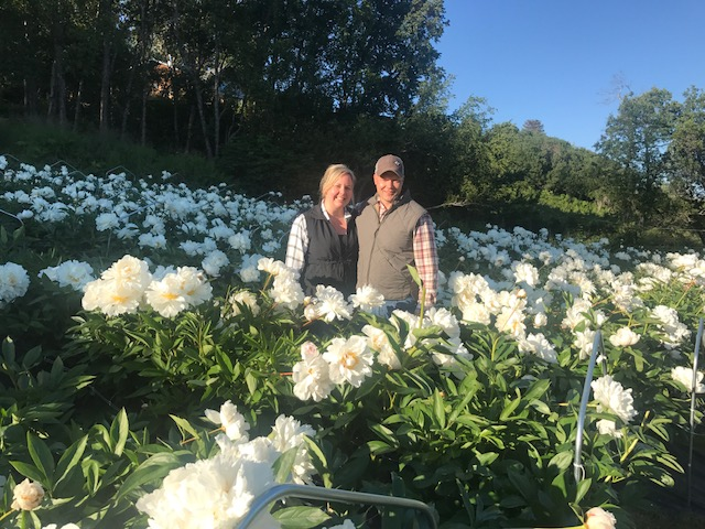 Kasey Cronquist and me in the lower peony field at Scenic Place Peonies.  To walk in a lush peony field like this was a magical experience.