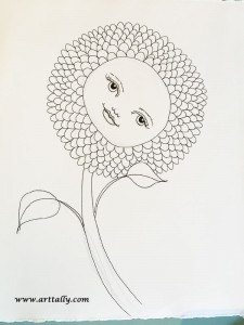 Flower face No 4 WIP ink drawing