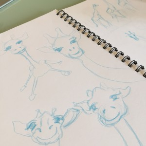 WIP rough sketches for giraffe animal panels arttally