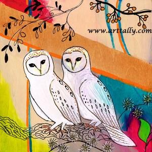 Owls 3 Mixed media on Wood June 2015 arttally