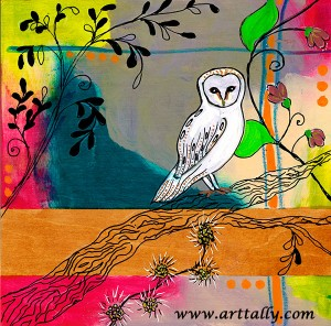Owls 4 Mixed Media on Wood June 2015