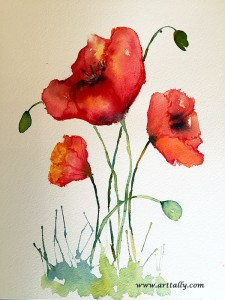 Watercolour poppies for beginners