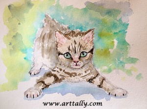 A kitten in watercolour arttally