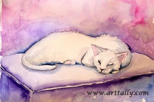 Painting white cats arttally
