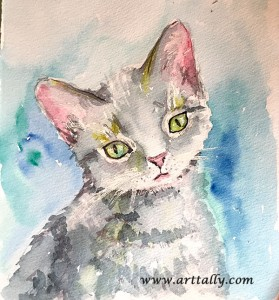 watercolour cat no 3 arttally