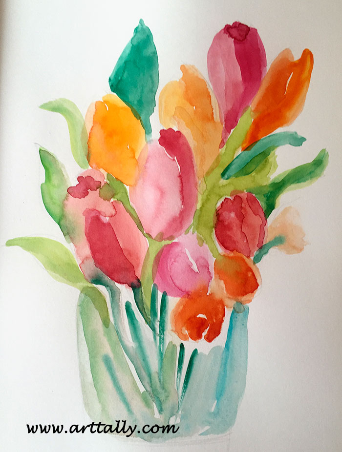 quick loose tulips in watercolour arttally