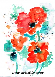 30 minute watercolour poppies