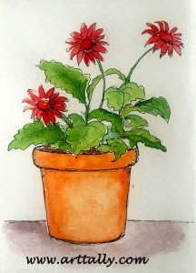 Watercolour Stage of Plants in Pots no 1