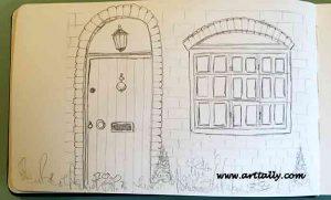 Pencil sketch for Sketching Buildings no 1 arttally