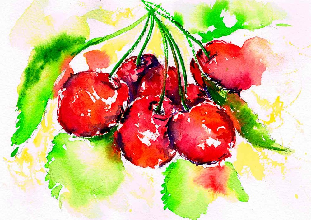 wet into wet watercolour fruit