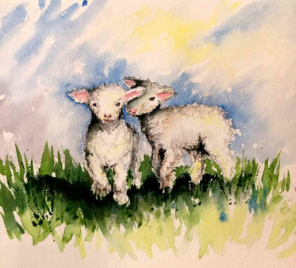 Farm-Animals-no-1- original watercolour painting by Kerrie Woodhouse