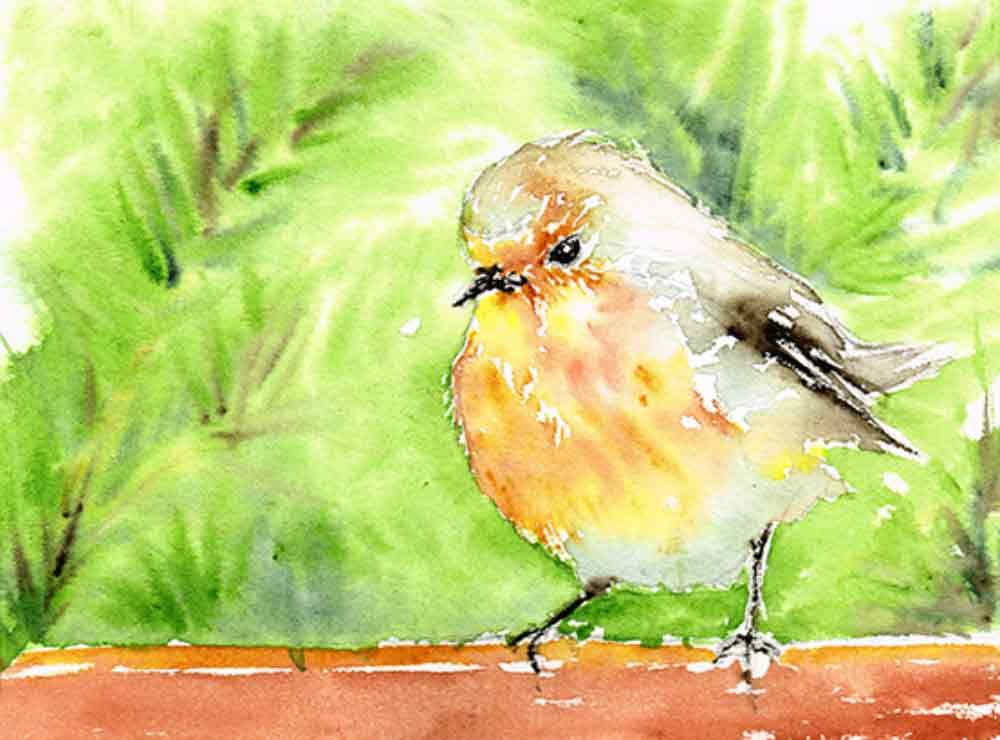 20670ac222cd2 Festive Robin (Little Birds 7) Watercolour — Kerrie Woodhouse