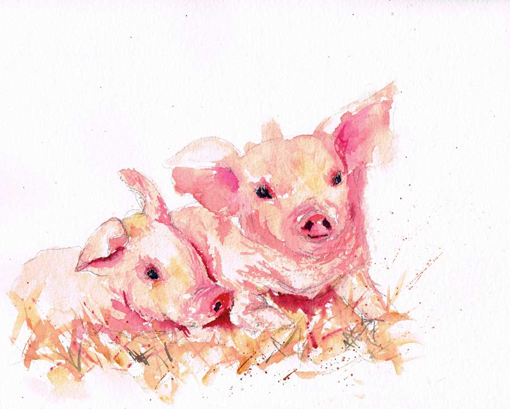 Farm-Animals-no-3.-original watercolour painting by Kerrie Woodhouse