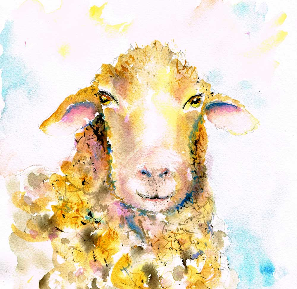 Farm-Animals-no-4-original watercolour painting by Kerrie Woodhouse