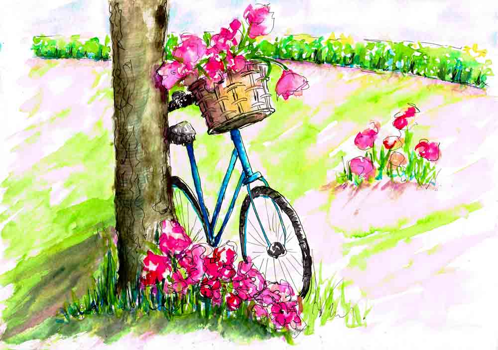 Blossoms-and-Bikes-2-leaning-up-against-tree-kw.jpg