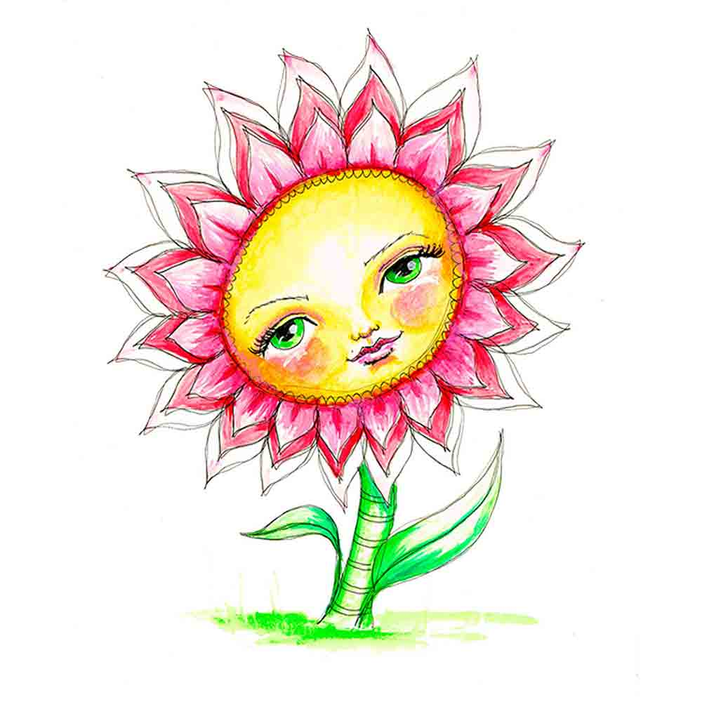 Flower Face No 1 Pink Daisy