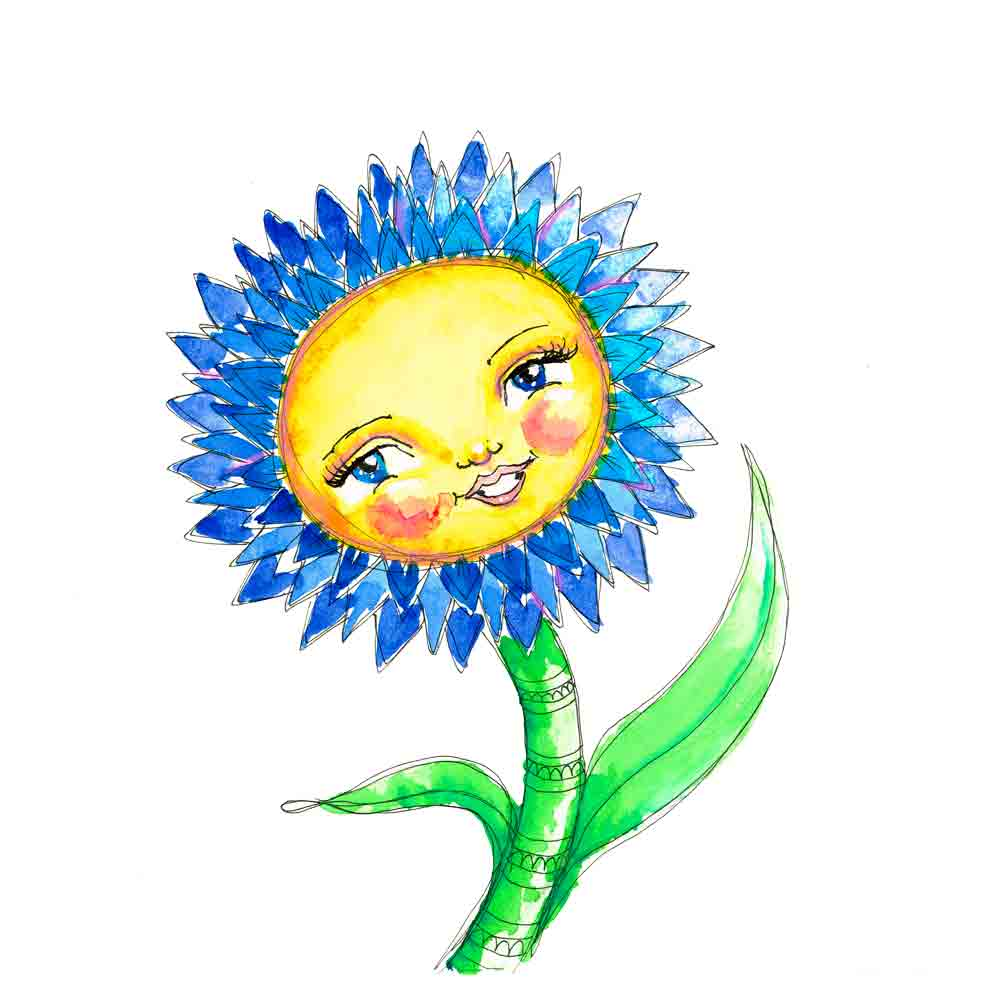 Flower Face No 2 Blue Daisy