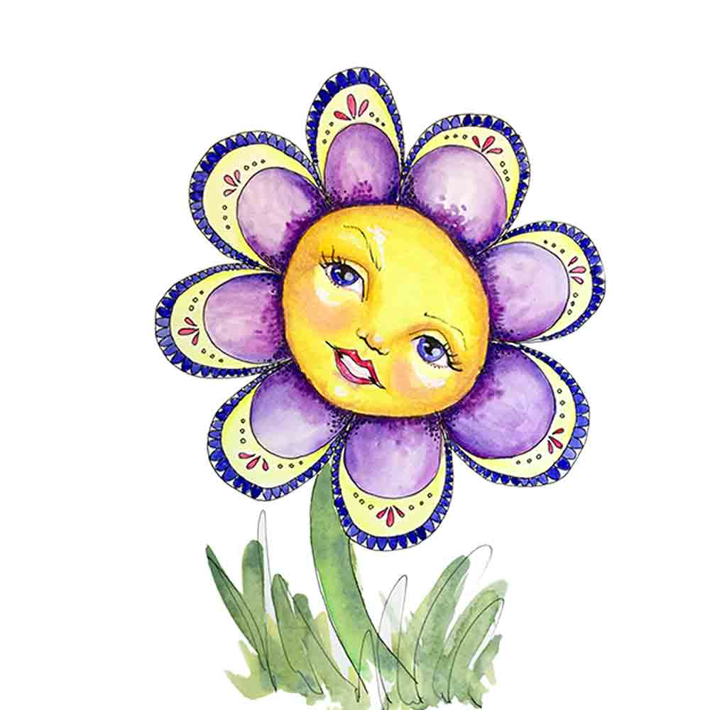 Flower Face No 8 Purple Daisy