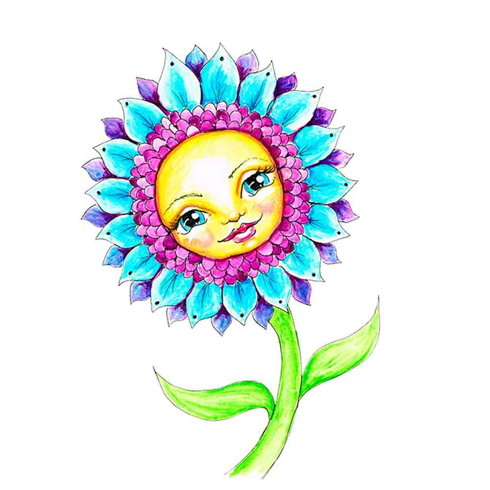 Flower Face No 15 Turquoise Daisy