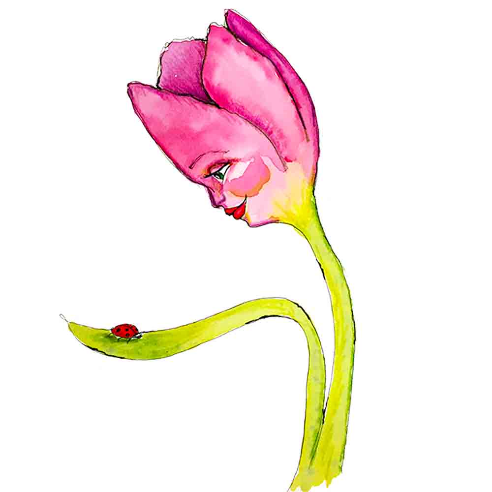 Flower Face No 11 Tulip and Ladybug