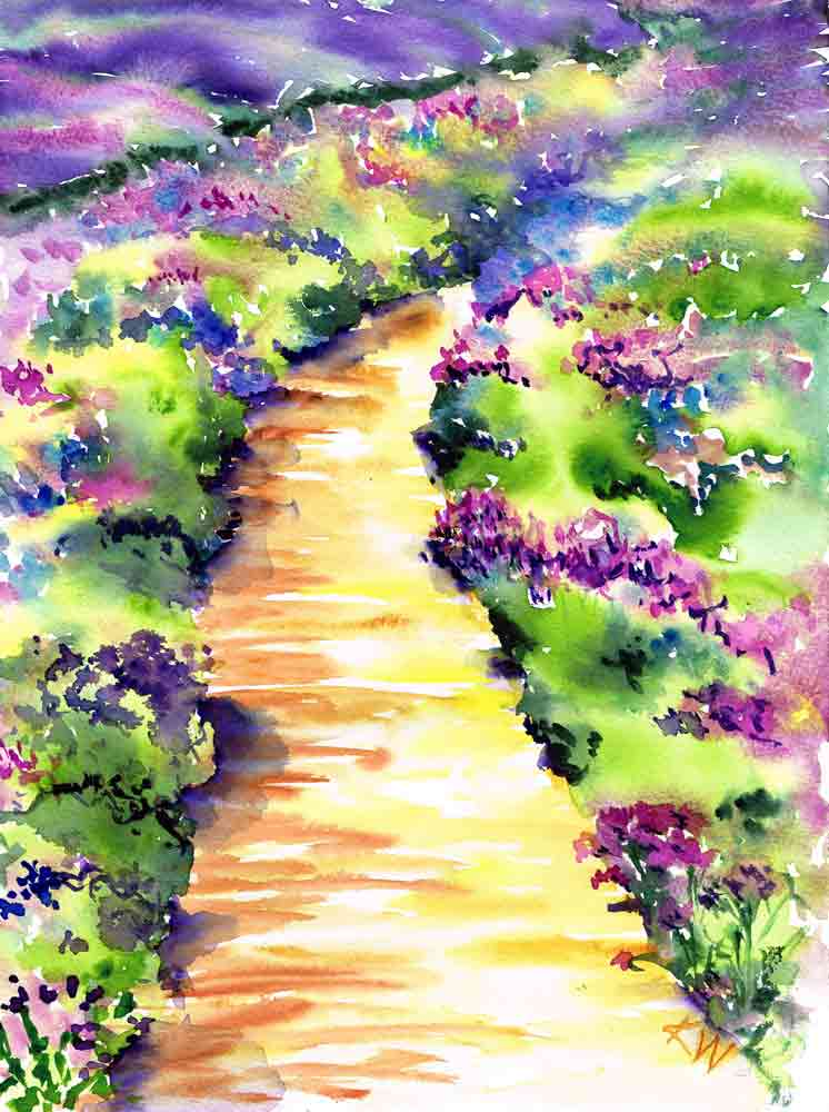 "Garden Path no 3 - Lavender walk (Watercolour on paper, 9""x12"")"
