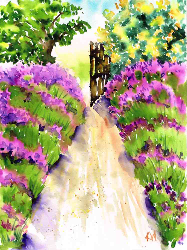 "Garden Path no 4 Lavender Gate (Watercolour on Paper, 9""x12"")"