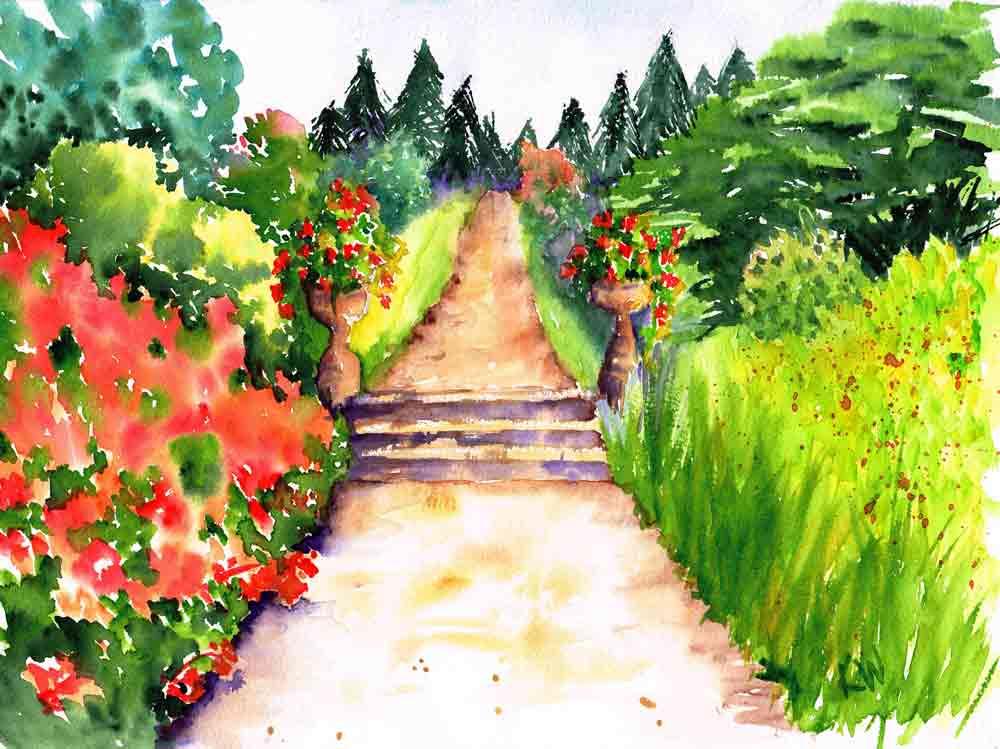 "Garden Path no 2 Flowering Sentinels (Watercolour on Paper 9""x12"")"