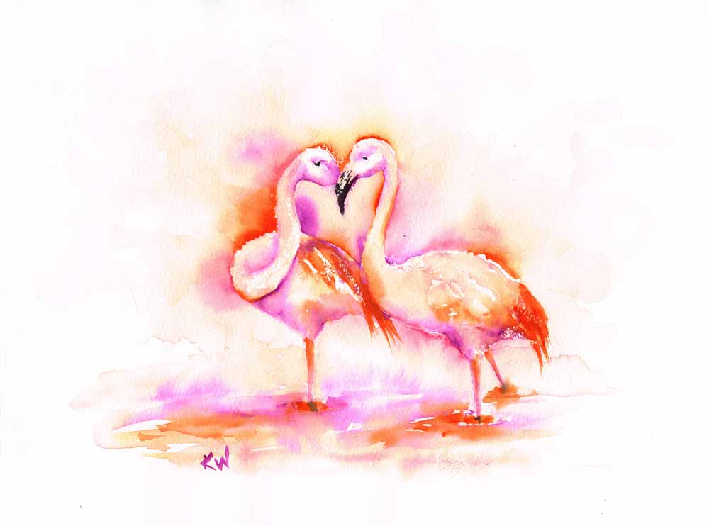 "Dramatic Birds no 7 Flamingo Love (Watercolour on Paper, 9""x12"")"