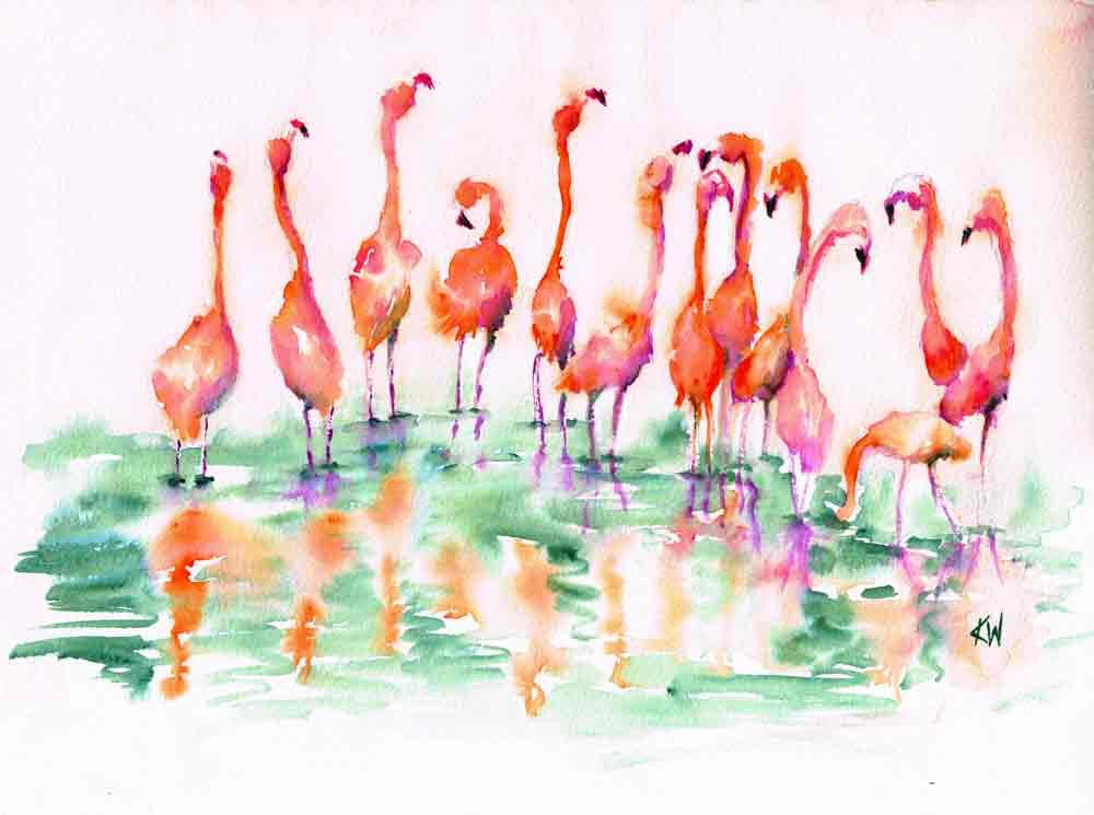 "Dramatic Birds no 10 Flamingo Party (Watercolour on Paper, 9""x12"")"