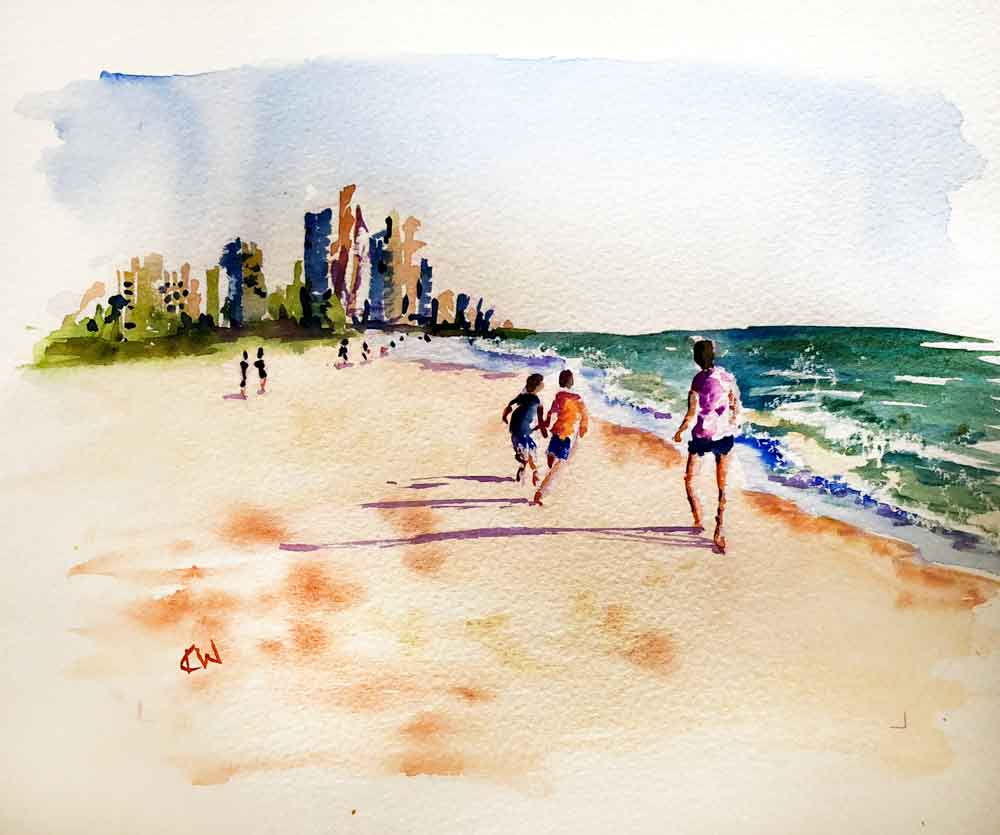 "Beach Holiday no 2 - Boys will be Boys (Watercolour on paper, 8""x11"")"