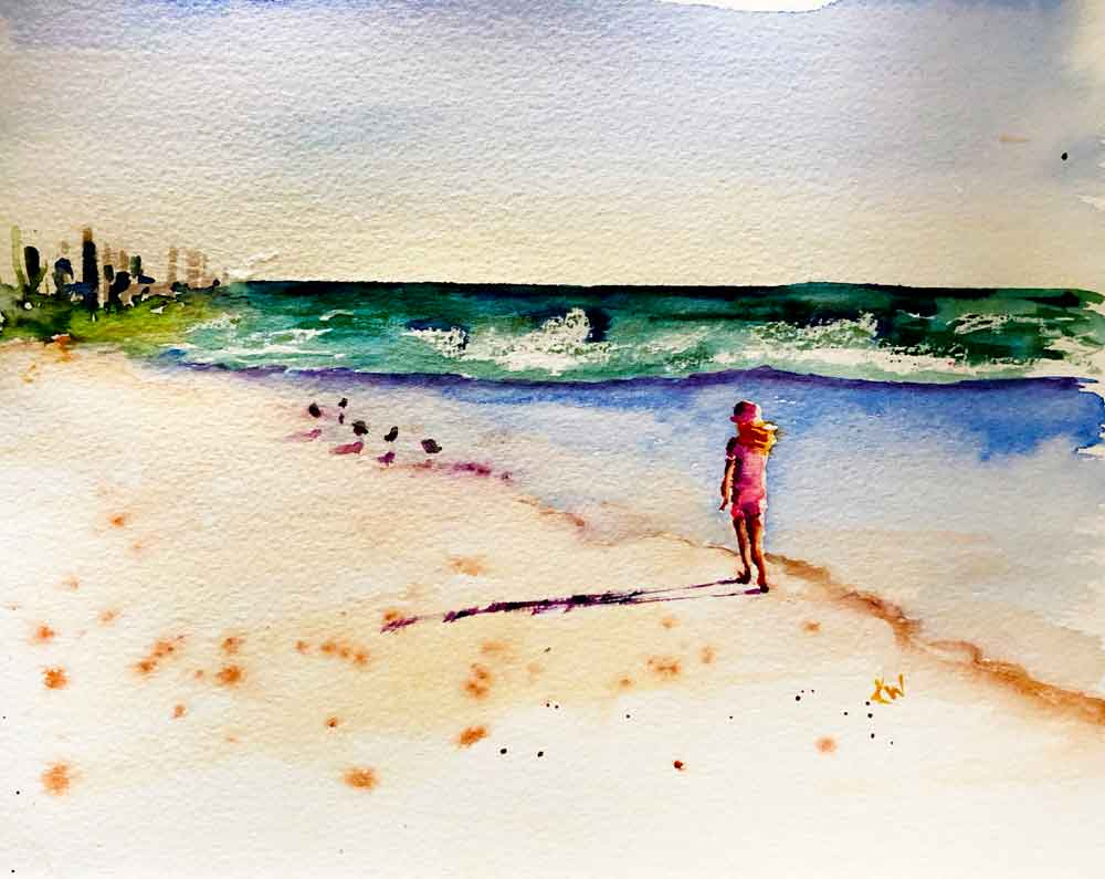 "Beach Holiday no 6 Seek the birds (Watercolour on Paper, 8""x11"")"