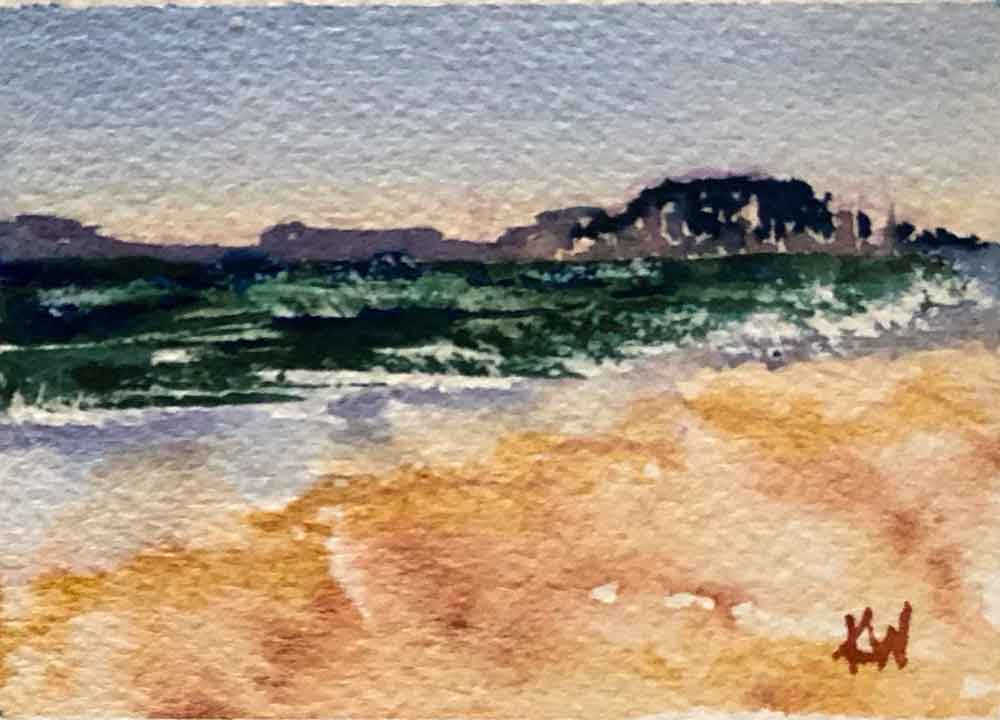 "Beach Holiday no 7 Mini seascape (Watercolour on Paper, 2.5""x 3.5"")"