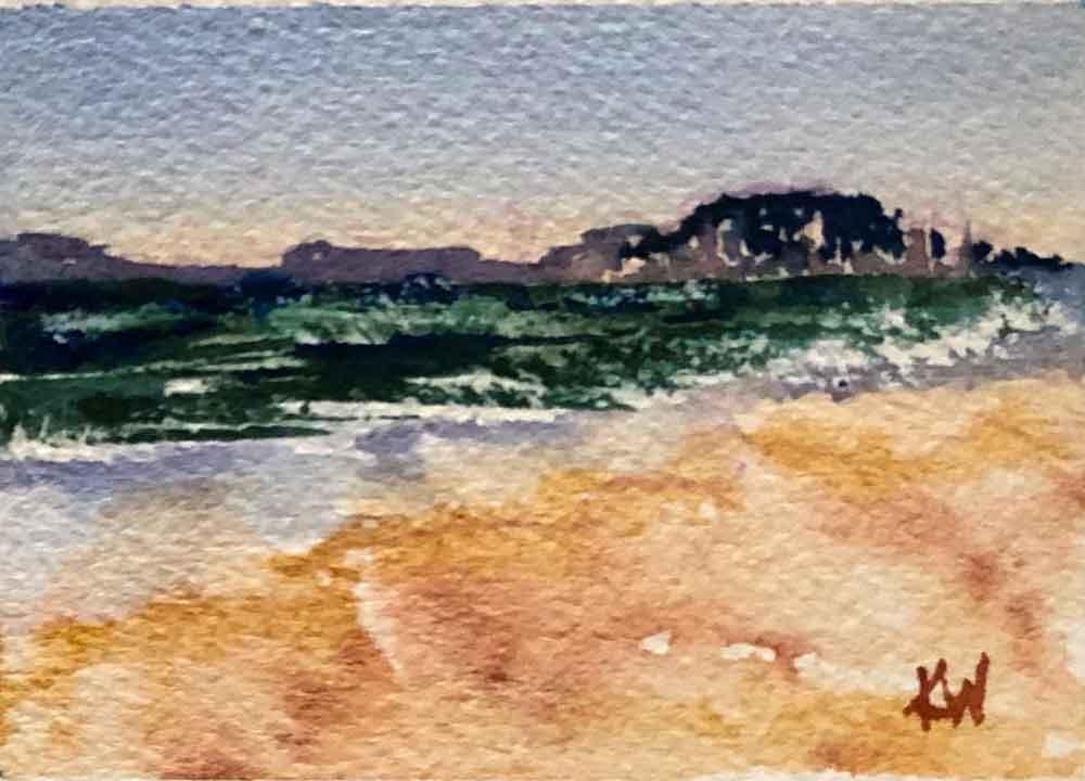 "Beach Holiday no 7 Mini seascape (Watercolour on Paper, 2.5""x 3.5"")"