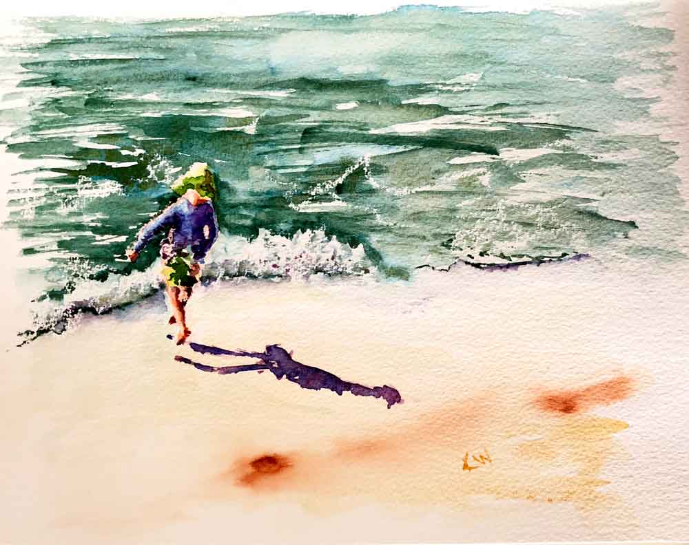 "Beach Holiday no 4 Can't Catch Me! (Watercolour on Paper, 8""x 11"")"