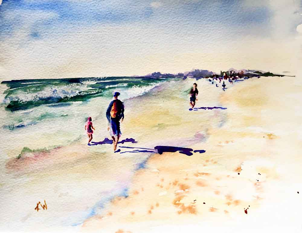 """Beach Holiday no 3 Family Walk (Watercolour on Paper, 8""""x11"""")"""
