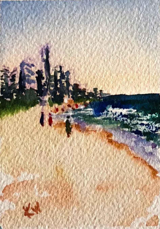 """Beach Holiday no 9 Mini Beach (Watercolour on Paper, 2.5""""x 3.5"""")"""