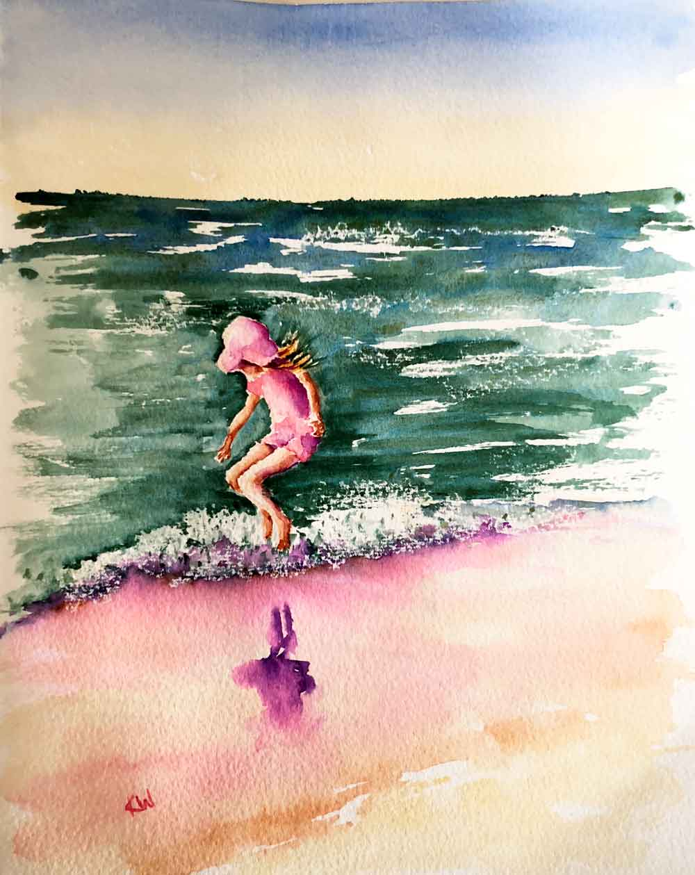 """Beach Holiday no 5 Jump! (Watercolour on Paper 8"""" x 11"""")"""